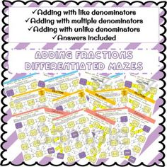 Adding fractions differentiated maze bundleThis would be great for a class where students are on different skill levels! adding fractions with like denominators adding fractions with unlike denominators   Fun maze activity, loads of questions. 9 different sheets. #fractions #math #mazes #differentiated Adding And Subtracting Fractions, Differentiation, Maze, Fun Activities, Students, Number, Products, Labyrinths, Gadget