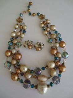 VINTAGE-VENDOME-PAPIER-MACHE-CRYSTAL-GIANT-GUMBALL-PEARL-NECKLACE-EARRINGS