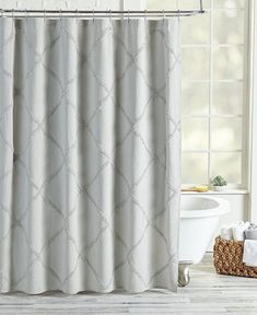 Add an elegant contemporary element to your bathroom decor with the Peri Home Chenille Lattice Shower Curtain. The curtain's delicate, lattice patterned chenille trim is perfect for matching any theme. Grey Curtains, Colorful Curtains, Shower Curtains, Contemporary Shower, Chenille, Showcase Design, Space Furniture, Bathroom Interior, Parisian Bathroom