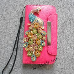 iphone 5/5s/5c wallet case,rhinestone peacock iphone case
