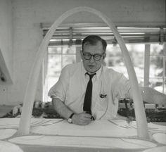 Eero Saarinen with Gateway Arch Model