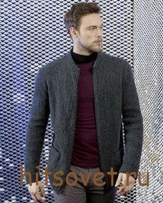 Жакет мужской спицами с описанием http://hitsovet.ru/zhaket-muzhskoj-spicami-s-opisaniem/