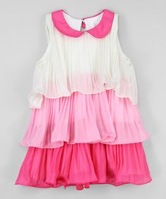 Ivory & Pink Pleated Ruffle Dress - Infant, Toddler & Girls