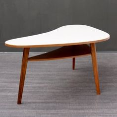 Velvet-Point - coffeetables Large 1950s kidney table with tray, beech - Karlsruhe