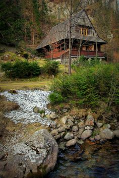 Cabins and Cottages: Great rustic home: charm, porch, stream, woods, ye. Little Cabin, Log Cabin Homes, Log Cabins, Rustic Cabins, Mountain Homes, Mountain Cottage, Mountain Cabins, Green Mountain, Cabins And Cottages