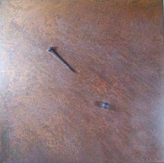 Medioevo # 1 Quadrato=Rombo ossidato vergine + 1 chiodo genovese sec.XVIII + 1 sfera, 2012.