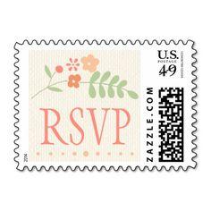 Wedding RSVP Stamp | Country Florals Pink Postage Stamp
