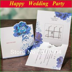 Blue Korean Flower Wedding Invitations 2014 Custom Personalized Wedding Cards+envelopes+seals 50sets US $65.00