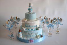 Sweet Table per il Battesimo: con Torta e Biscotti decorati con design personalizzato e solo modellato a mano, senza stampi e senza elementi preconfezionati