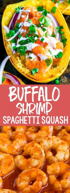 This crazy deliciousBuffalo Shrimp Spaghetti Squash with Paleo Ranch Dressing is Whole30 compliant and gloriously gluten-free. Love it so! #spaghettisquash #buffalo #paleo #whole30 #glutenfree #pescatarian #seafood #shrimp #dinner Appetizers For A Crowd, Seafood Appetizers, Seafood Recipes, Dinner Recipes, Shrimp Spaghetti, Spaghetti Squash, Easy Delicious Recipes, Paleo Recipes, Yummy Food