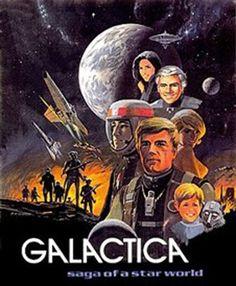 Battlestar Galactica concept poster art by Ralph McQuarrie Star Wars Poster, Star Wars Art, Star Trek, Battlestar Galactica Movie, 70s Sci Fi Art, Sci Fi Tv Shows, Star Wars Light Saber, Star Wars Girls, Ralph Mcquarrie