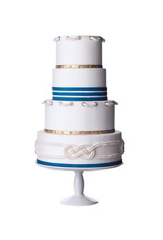 Nautical Blue and White Cake I'm in love with this cake... Just needs some purple