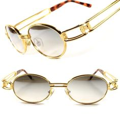 22b48f4677 Gold Classic Old Cool Vintage Retro Mens Womens Oval Round Sunglasses Frame  Round Sunglasses