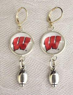 Wisconsin Badgers Earrings w/Football Charm Upcycled from Football Cards #WisconsinBadgers