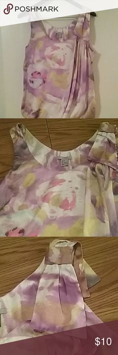 Beautiful Colorful Sleeveless Top... H&M H&M Soft Colorful Sleeveless Top Size 8  Slight Snag Shown on 4th Picture ... 100% Polyester. ..Balloon Bottom ..Super Cute Top! H&M Tops Blouses