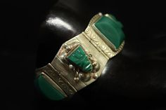 Mexican Mask Bracelet Green Onyx Carving Dangling by june2six, $55.00