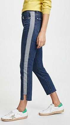 online shopping for 7 For All Mankind Edie Side Panel Jeans from top store. See new offer for 7 For All Mankind Edie Side Panel Jeans Jeans Recycling, Denim Fashion, Fashion Outfits, Punk Fashion, Jeans Refashion, Trench Dress, Sewing Pants, Patchwork Jeans, Striped Jeans