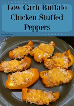 Low Carb Buffalo Chicken Stuffed Peppers - They also work as a great S for Trim Healthy Mama!