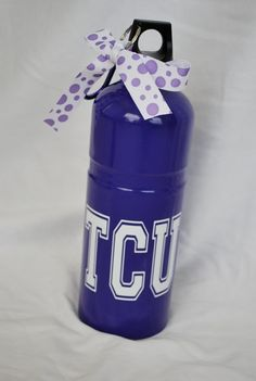 Personalized Stainless Steel Water Bottlle - Purple/TCU