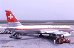"Swissair Convair 990A Coronado 30A-6 HB-ICD ""Basel-Land"" at Tokyo-Haneda, circa May 1966. An in-flight bomb explosion caused this aircraft to crash near Zürich on February 21, 1970, with the loss of 47 lives. (Photo: Mel Lawrence)"