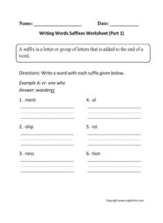 Writing Words Suffixes Worksheet Part 1