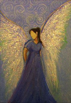 ACEO Original Angel Painting Healing Energy by Breten Bryden, BrydenART (CapeCodArtist) #Impressionism