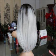 Long Straight Hair Black To Grey Ombre wig Heat Resistant Fiber Synthetic Cosplay Wigs - Stylish n Trendier - 4