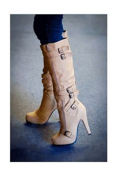 Camel Coppy Leather Stiletto Heel Knee High Boot with Amazing Buckle Decoration - Shoespie Dream Shoes, Crazy Shoes, Pretty Shoes, Beautiful Shoes, Beautiful Women, Awesome Shoes, Beautiful Mess, Women's Shoes, Me Too Shoes