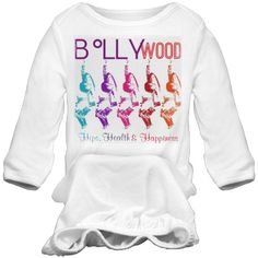Bollywood Vibrance | Share your love of Bollywood films and dance! Beautiful colorful version of the Bollywood Vibrance design on a long sleeve onesie. Start your baby on Bollywood early! Cute Ganesh logo on back.Look for more in this Collection. Samira's love of design and art, is combined with her dance career and knowledge to bring you high end graphics on a beautiful assortment of products.  For special requests, not shown on this site, contact samirashuruk.com Use our storefront ...