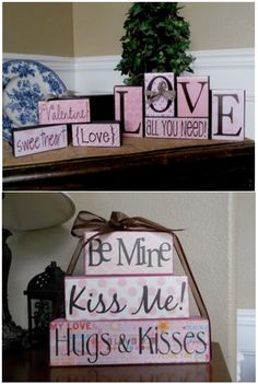 Valentine's Day blocks - could waaay figure a DIY method here.  Really cute!