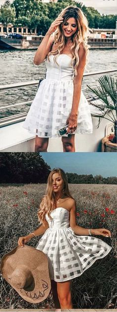 A-Line Strapless Short White Lace Homecoming Dress,Short Prom Dresses,BDY0337 #homecoming #homecomingdresses #2020homecoming #homecomingdress Unique Homecoming Dresses, Prom Dresses With Pockets, Hoco Dresses, Mermaid Dresses, Cheap Dresses, Party Dresses, Wedding Dresses, Long Sleeve Backless Dress, Strapless Dress