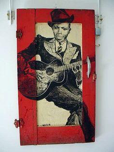 blues folk art   Abstract Primitive Outsider Art Blues Folk Art Signd Painting Robert ...