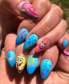 Disney Acrylic Nails, Summer Acrylic Nails, Best Acrylic Nails, Summer Nails, Cute Nails, Pretty Nails, Lily Nails, Long Nail Art, Dream Nails