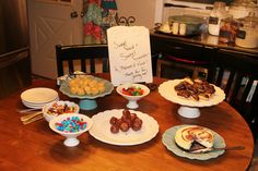 "A scene from my ""Sweet Foods & Sweet Friends"" gathering! So simple, nothing was homemade... The whole thing was ready to go in a matter of minutes! So beautiful with my Mary & Martha dishes and serving pieces!"