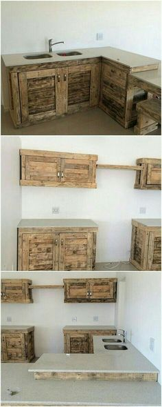 Pallet kitchen cabinet ideas wood pallet cabinets home decorations Wooden Pallet Furniture, Wood Pallets, Diy Furniture, Pallet Wood, Furniture Plans, Outdoor Furniture, Furniture Stores, Paint Pallets, System Furniture