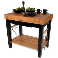 Kitchen Islands - American Cherry Pro Prep Block w/ Oil finish & Optional Pot Rack by John Boos | KitchenSource.com