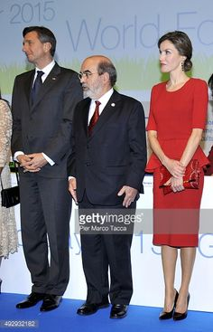 Jose Graziano da Silva, Director General of FAO and Queen Letizia of Spain attend the World Food Day - Expo 2015 on October 16, 2015 in Milan, Italy. The focus of the discussion during the World Food...