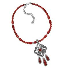 """Southwest Spirit Cody Sanderson Sterling Silver Red Coral Pendant Necklace Southwest Spirit. $275.98. Genuine .925 Sterling Silver. Pendant Measures 3-1/2"""" L x 1-3/4"""" W; Necklace Measures 17"""". Natural Gemstones: Coral. Authentic Cody Sanderson Designer Jewelry. Lifetime Warranty on Jewelry, Proudly Made in the USA"""