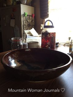 Mountain Woman Journals, Tammy Trayer loves to take time in thrift stores, antique stores and yard sales looking for frugal treasures.  The large pottery bowl for $6.50 is now her special bread bowl in her kitchen. | TrayerWilderness.com