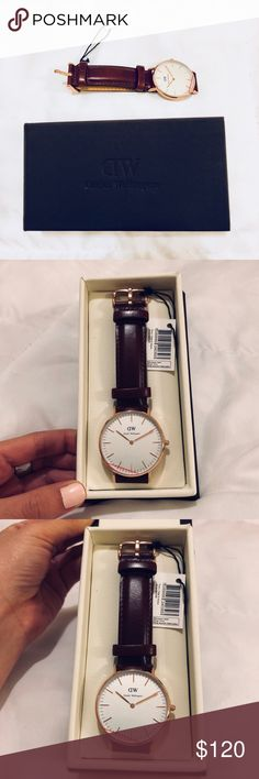 Daniel Wellington Classic St. Mawes 36mm Watch Reposh! I bought this for my boyfriend but it was the wrong size. Rose gold and brown leather band. The band is interchangeable. It's a classic, minimalist must have watch in absolutely perfect condition.   My wrist is too small or I would keep it myself! All the pictures are of the actual watch. Please let me know if you have any questions! Open to offers. Just trying to make some money back! <3 Daniel Wellington Accessories Watches