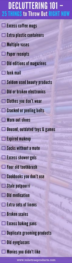 Maybe you don't want to a minimalist, but you do want to simplify and declutter. If so, this quick and easy checklist is the list for you! Please note that you should recycle and donate as much as you can, rather than just tossing things!