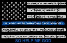 Thin blue line decal - Tattered Flag with Credo Decal, Numerous Sizes Reflective