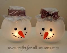 Learn how to make these cute snowman votive candle holders using a glass bowl - from Crafts For All Seasons