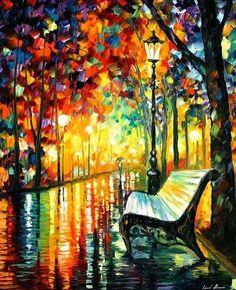 art, artwork, autumn, beautiful, bench, boulevard