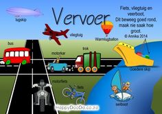 Home School: Grade R - Week 19 - Vervoer / Transport - Happy Doo-Da Preschool Themes, Preschool Classroom, Preschool Learning, Classroom Activities, Teaching Aids, Teaching Activities, Grade R Worksheets, Afrikaans Language, Grade 1 Reading