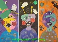 Picasso Monsters- I think I'm going to do this on a simpler scale for a one day Halloween lesson!