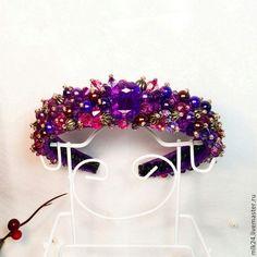 """Купить Ободок ручной работы """"Ультрафиолет"""" - фиолетовый, ободок для волос, ободок с цветами, ободок"""