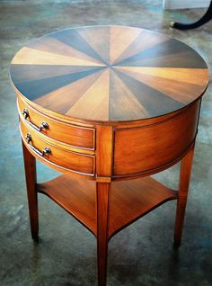 Vintage Hekman Round Side Table Small Table Drawers by EnvyAlley, $295.00... OMG, I LOVE THIS TABLE, WANT, WANT, WANT!
