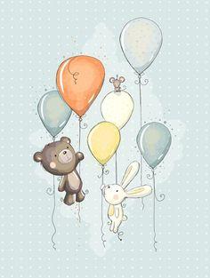 Bear and bunny balloons archival Kids art Illustration Mignonne, Art Mignon, Bunny And Bear, Baby Art, Children's Book Illustration, Nursery Art, Cute Drawings, Cute Art, Cute Kids