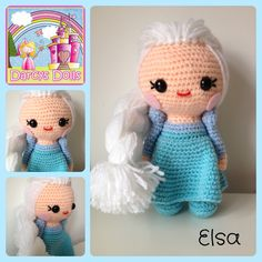 Elsa, frozen crochet doll. Handmade by me !  Available to purchase from my fb page - Darcy's Dolls  (I am in no way affiliated with Disney )